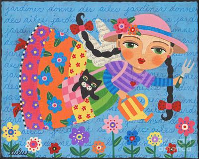 Folk Art Angel Painting - Gardening Angel by LuLu Mypinkturtle