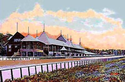 Gardens And Grandstand At Saratoga Racetrack In 1908 Art Print
