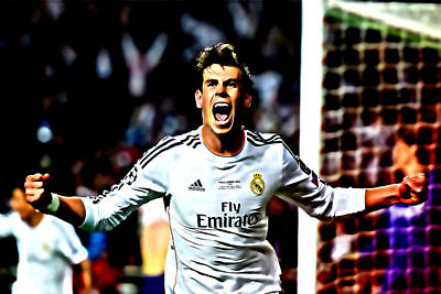 Cristiano Ronaldo Mixed Media - Gareth Bale Celebration by Brian Reaves