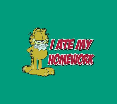 Lazy Digital Art - Garfield - I Ate My Homework by Brand A