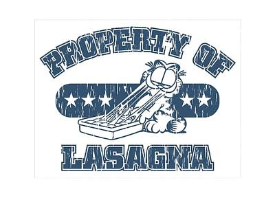 Lazy Digital Art - Garfield - Property Of Lasagna by Brand A