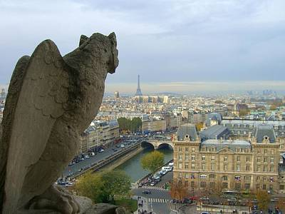 Paris Skyline Royalty-Free and Rights-Managed Images - Gargoyle and Eiffel Tower by Scott Carda