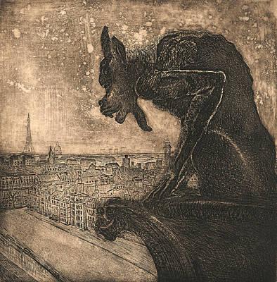 Gargoyle Drawing - Gargoyle by David Ter-Avanesyan