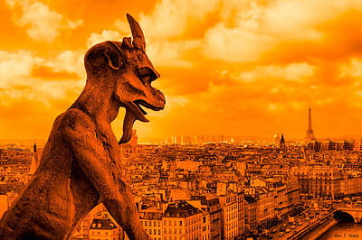 Paris Skyline Photograph - Gargoyle Guardian Of Paris by Mark E Tisdale
