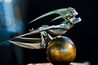 Skull Photograph - Gargoyle Hood Ornament by Jill Reger