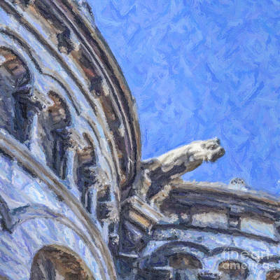 Digital Art - Gargoyle On Sacre Coeur by Liz Leyden