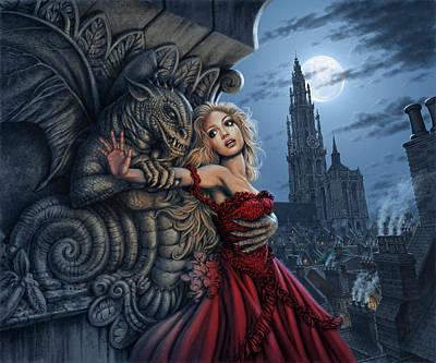 Gargoyles Embrace Art Print by Steve Read