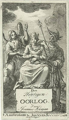 Garland And Chained Woman Flanked By An Angel And A Soldier Art Print by Jan Luyken And Johannes Boekholt