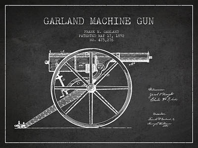 Smallmouth Bass Digital Art - Garland Machine Gun Patent Drawing From 1892 - Dark by Aged Pixel