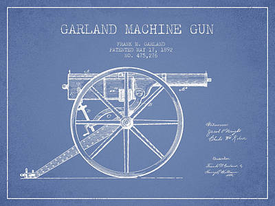 Bass Digital Art - Garland Machine Gun Patent Drawing From 1892 - Light Blue by Aged Pixel