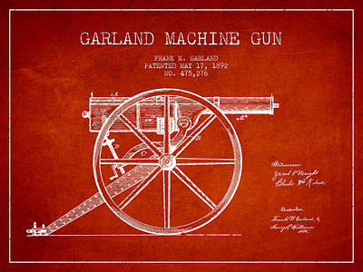 Bass Digital Art - Garland Machine Gun Patent Drawing From 1892 - Red by Aged Pixel