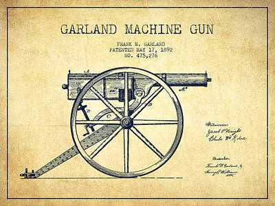 Bass Digital Art - Garland Machine Gun Patent Drawing From 1892 - Vintage by Aged Pixel