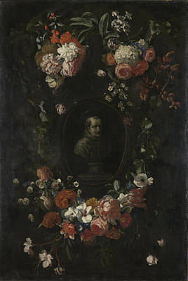 Weerts Drawing - Garland Of Flowers Surrounding Portrait Of Hieronymus Van by Litz Collection