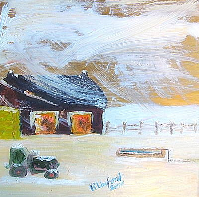 Painting - Garland Utah John Deere Tractor Horse Barn Storm 1 by Richard W Linford