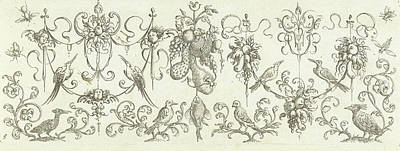 Garlands With Fruits And Cherubs, Print Maker Henry Le Roy Art Print by Henry Le Roy And Michiel Le Blon And Anonymous