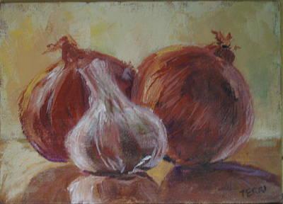 Garlic And Onions Art Print by Terri Messinger