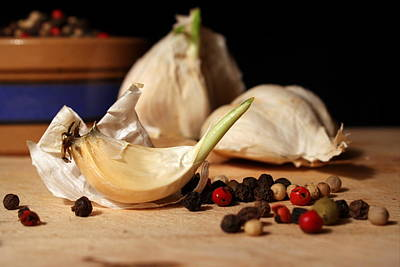 Photograph - Garlic And Peppercorns by Joseph Skompski