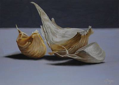 Hyperrealism Painting - Garlic Cloves by Emily Page