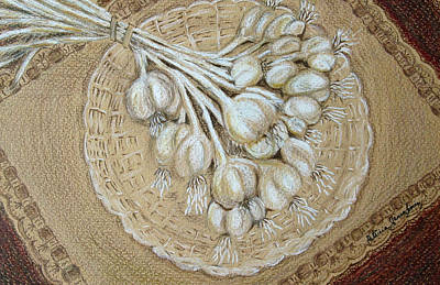 Art Print featuring the drawing Garlic by Patricia Januszkiewicz