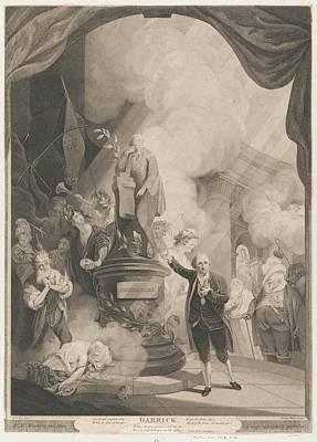 Stipple Drawing - Garrick Speaking The Jubilee Ode by after Robert Edge Pine