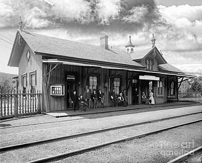 Garrison Train Station In Black And White Art Print