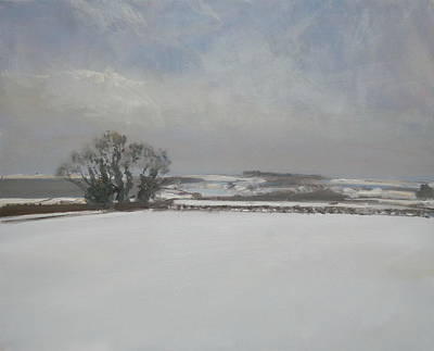 Snowscape Painting - Garrowby Hill by Malcolm Ludvigsen