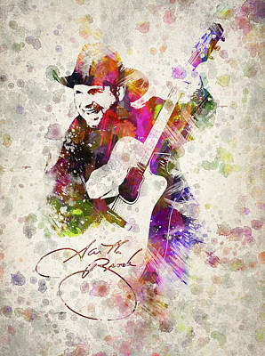 Songwriter Digital Art - Garth Brooks by Aged Pixel