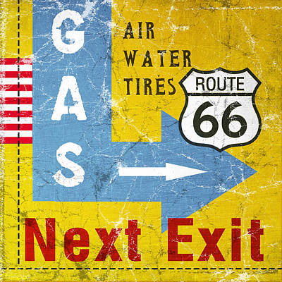 Traffic Signs Painting - Gas Next Exit- Route 66 by Linda Woods