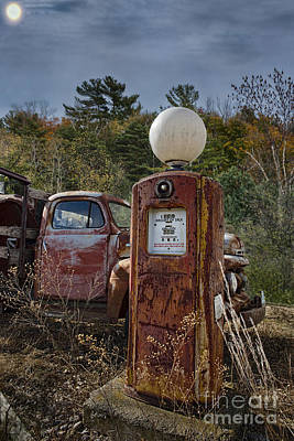Animal Portraits Royalty Free Images - Gas Pump and Old Truck Royalty-Free Image by David Arment