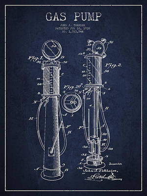 Gas Pump Patent Drawing From 1930 - Navy Blue Art Print by Aged Pixel