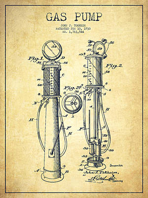 Pump Digital Art - Gas Pump Patent Drawing From 1930 - Vintage by Aged Pixel