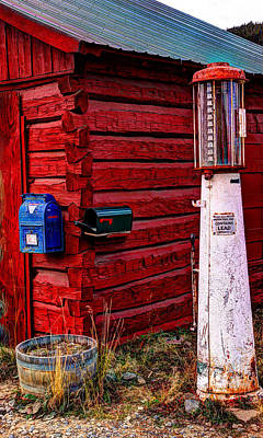 Gas Pump Post Office Art Print by Harold Rau