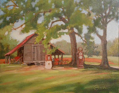 Shed Painting - Gas Pumps by Todd Baxter