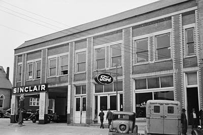 1940s Storefront Photograph - Gas Station, C1940 by Granger