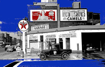 Mellow Yellow Rights Managed Images - Gas station Coca-Cola billboard Benton Harbor Michigan  John Vachon for the FSA July 1940-2014  Royalty-Free Image by David Lee Guss