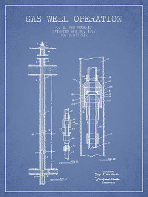 Gas Well Operation Patent From 1937 - Light Blue Art Print by Aged Pixel