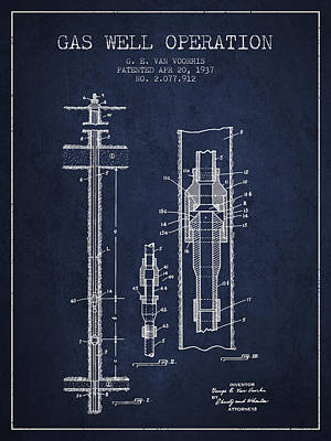 Gas Pump Wall Art - Digital Art - Gas Well Operation Patent From 1937 - Navy Blue by Aged Pixel