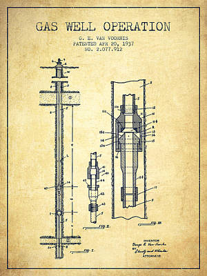 Gas Well Operation Patent From 1937 - Vintage Art Print by Aged Pixel