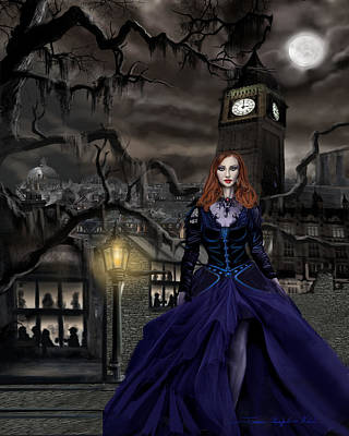 Gaslight Painting - Gaslight Fantasia Cover Redhead by James Christopher Hill