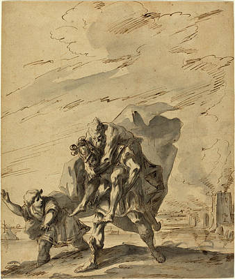 Wash Drawing - Gaspare Diziani Italian, 1689 - 1767, Aeneas Carrying by Quint Lox