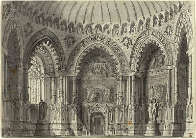 Wash Drawing - Gasparo Galliari Italian, 1761 - 1823, Rotunda In Gothic by Quint Lox