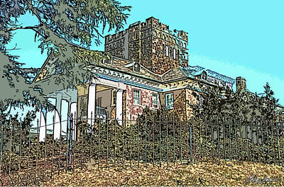Fence Digital Art - Gassaway Mansion by Greg Joens