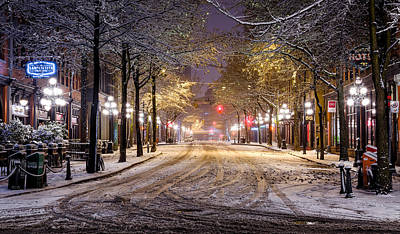 Postcard Photograph - Gastown Snow by Alexis Birkill
