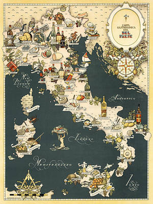 Italian Wine Photograph - Gastronomic Map Of Italy 1949 by Andrew Fare