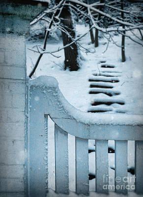 Gate And Steps In Snow Art Print by Jill Battaglia