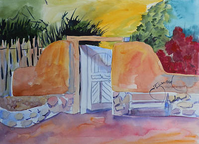 Painting - Gate At Ghost Ranch by Jann Elwood