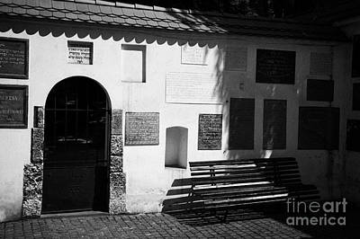 Cracovia Photograph - Gate Bench And Nameplate Memorials To Jewish Families Including Those Killed During The Holocaust In English And Hebrew In Remuh Cemetary In Krakow by Joe Fox