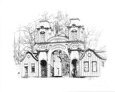 Macon Drawing - Gate House by Steve Orin