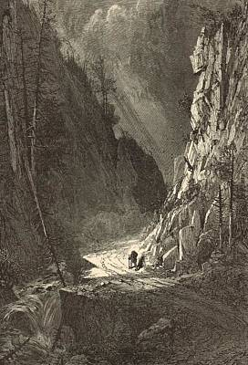 Maine Roads Drawing - Gate Of The Crawford Notch 1872 Engraving by Antique Engravings