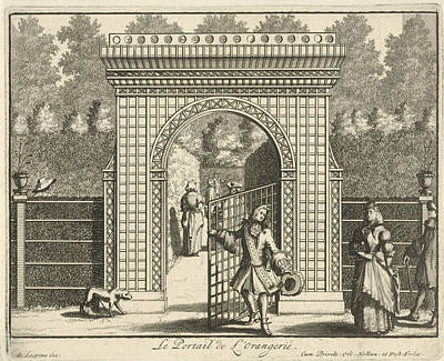 Garden Entrance Drawing - Gate Of The Orangery At Castle Gunterstein by Joseph Mulder And William Swidde And Jaques Le Moine De L'espine